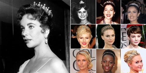 """As the story goes, Taylor's third husband, Mike Todd, gave her this Cartier tiara and declared her """"his queen."""" And the legendary actress wore it for the first time to the Academy Awards in 1957, as if to make it clear that she was bona fide Hollywood royalty. (And she was, no?) Few stars have been so bold as to follow her lead so literally since, but actresses like Lupita Nyong'o, Charlize Theron, and Natalie Portman have&nbsp;proved that a jeweled&nbsp;headband makes an understated but equally regal alternative.  <em>From top left:</em>  Sophia Loren at the 30th Annual Academy Awards, 1958  Ava Gardner at the &nbsp;32nd Annual Academy Awards, 1960  Salma Hayek at the 69th Annual Academy Awards, 1997  Scarlett Johansson at the 77th Annual Academy Awards, 2005  Natalie Portman at the 77th Annual Academy Awards, 2005  Carey Mulligan at the 67th Annual Golden Globe Awards, 2009  Charlize Theron at the 69th Annual Golden Globe Awards, 2012  Lupita Nyong'o at the 86th Annual Academy Awards, 2014  Hayden Panettiere at the 66th Annual Emmy Awards, 2014"""