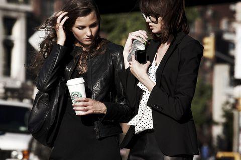 Outerwear, Jacket, Coat, Fashion, Street fashion, Black hair, Blazer, Leather, Leather jacket, Necklace,