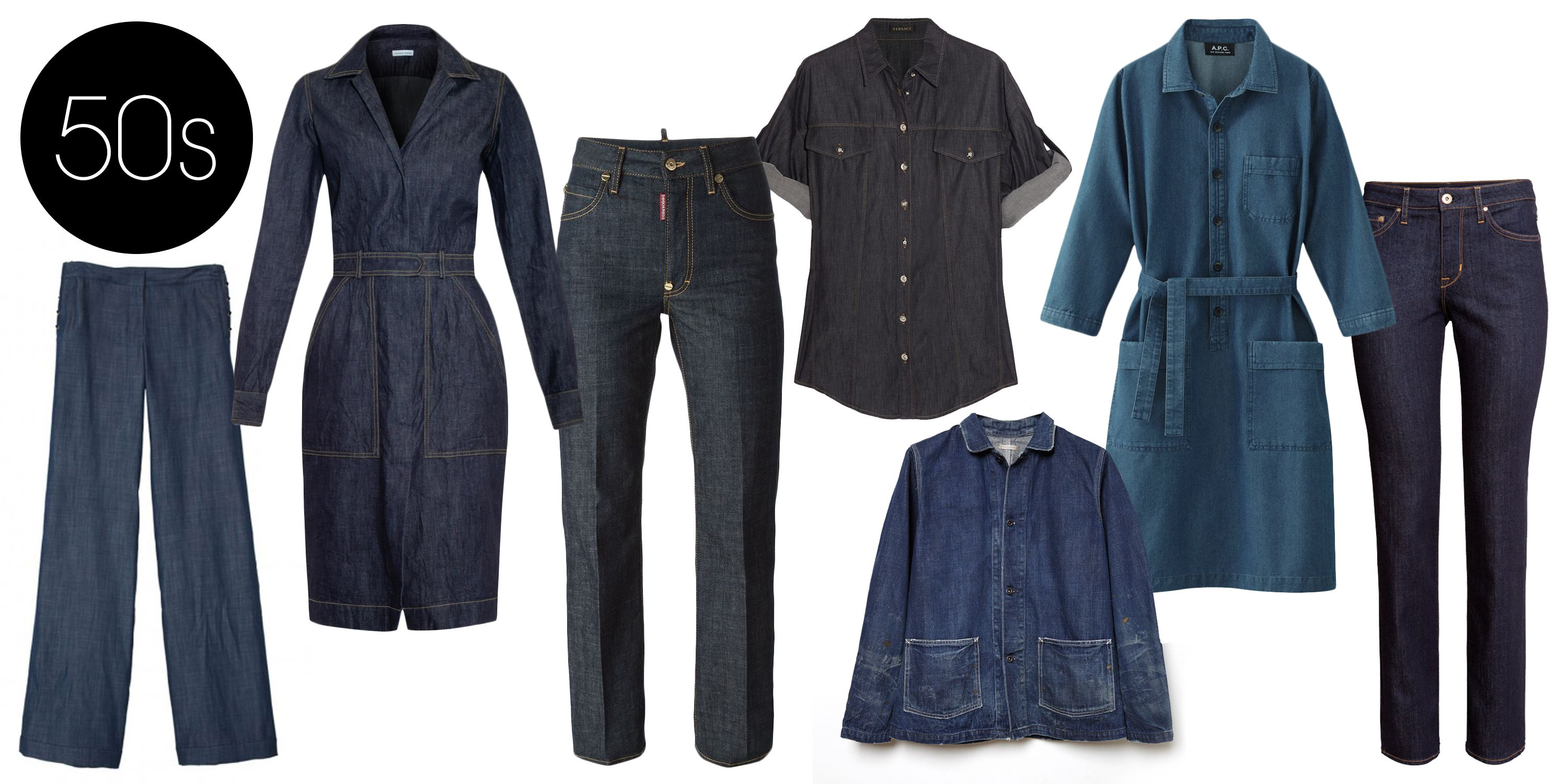 "<p>While the first pair of women's jeans was made in 1934, the popularity of the dark wash and stiff fabric in the '50s marked the beginning of fashionable denim. </p> <p>Chimala Unisex Denim Coverall, $575;<a href=""http://www.lagarconne.com/store/item.htm?itemid=29975&sid=&pid=&utm_source=shopstyle&utm_medium=cpc&utm_campaign=shopstyle""> lagarconne.com</a></p> <p>Tomas Maier Crinkled-denim Dress, $495; <a href=""http://www.matchesfashion.com/product/1007781"">matchesfashion.com</a> </p> <p>Versace Denim Shirt, $487; <a href=""http://www.theoutnet.com/en-US/product/Versace/Denim-shirt/432103?cm_mmc=LinkshareUS-_-J84DHJLQkR4-_-Custom-_-LinkBuilder&siteID=J84DHJLQkR4-tk70KUpKq.rXoHWH6A8ICw"">theoutnet.com</a></p> <p>DSquared2 Dalma Jeans, $507; <a href=""http://www.farfetch.com/in/shopping/women/dsquared2-dalma-jeans-item-10903858.aspx?storeid=9336&ffref=lp_22_"">farfetch.com</a></p> <p>Tibi Rigid Denim Sailor Pants, $375; <a href=""http://www.tibi.com/shop/rigid-denim-sailor-pants"">tibi.com</a></p> <p>H&M Straight Regular Jeans, $40; <a href=""http://www.hm.com/us/product/87248?article=87248-A&fromSearch=denim&cm_vc=SEARCH"">hm.com</a></p>"