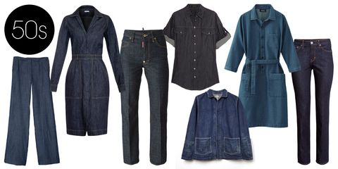 "<p>While the first pair of women's jeans was made in 1934, the popularity of the dark wash and stiff fabric in the '50s&nbsp;marked the beginning of fashionable denim.&nbsp;</p> <p>Chimala Unisex Denim Coverall, $575;<a href=""http://www.lagarconne.com/store/item.htm?itemid=29975&amp;sid=&amp;pid=&amp;utm_source=shopstyle&amp;utm_medium=cpc&amp;utm_campaign=shopstyle""> lagarconne.com</a></p> <p>Tomas Maier Crinkled-denim Dress, $495; <a href=""http://www.matchesfashion.com/product/1007781"">matchesfashion.com</a>&nbsp;</p> <p>Versace Denim Shirt, $487; <a href=""http://www.theoutnet.com/en-US/product/Versace/Denim-shirt/432103?cm_mmc=LinkshareUS-_-J84DHJLQkR4-_-Custom-_-LinkBuilder&amp;siteID=J84DHJLQkR4-tk70KUpKq.rXoHWH6A8ICw"">theoutnet.com</a></p> <p>DSquared2 Dalma Jeans, $507; <a href=""http://www.farfetch.com/in/shopping/women/dsquared2-dalma-jeans-item-10903858.aspx?storeid=9336&amp;ffref=lp_22_"">farfetch.com</a></p> <p>Tibi Rigid Denim Sailor Pants, $375; <a href=""http://www.tibi.com/shop/rigid-denim-sailor-pants"">tibi.com</a></p> <p>H&amp;M Straight Regular Jeans, $40; <a href=""http://www.hm.com/us/product/87248?article=87248-A&amp;fromSearch=denim&amp;cm_vc=SEARCH"">hm.com</a></p>"