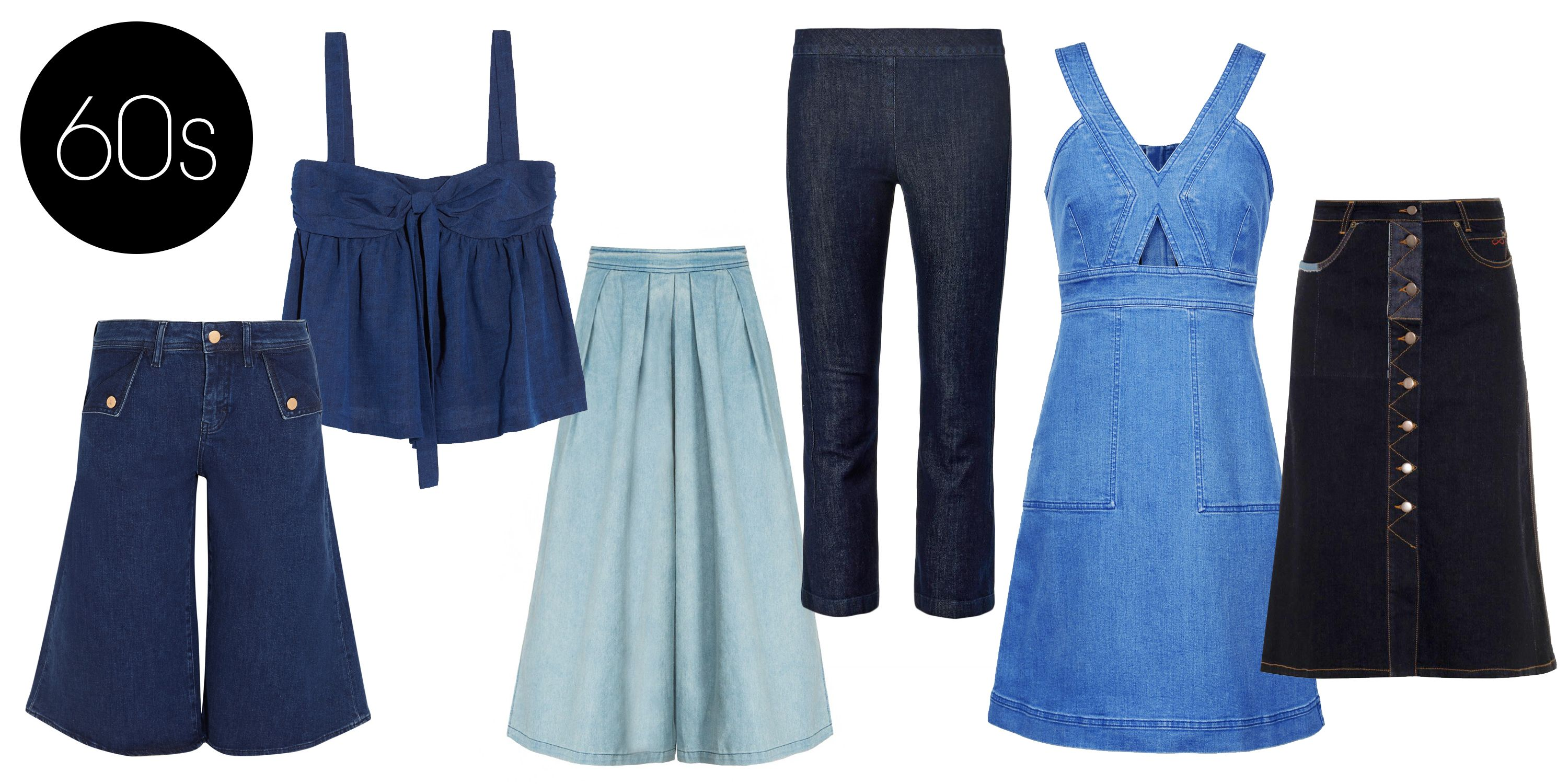 "<p>The denim of the '60s continued to bleed into the style of the '70s. Look out for feminine cuts and the beginning of the flared jean.</p> <p>Stella McCartney Denim Dress, $810; <a href=""http://www.stellamccartney.com/us/stella-mccartney/knee-length_cod34472662ew.html?utm_campaign=affiliazione_us&utm_content=10&utm_medium=affiliazione&utm_source=linkshare_us&tp=51960"">stellamccartney.com</a></p> <p>M MIssoni Bow-embellished Denim Top, $395; <a href=""http://www.net-a-porter.com/product/497286/M_Missoni/bow-embellished-denim-top"">net-a-porter.com</a></p> <p>The Row Seeton High-rise Kick-flare Cropped Jeans, $526; <a href=""http://www.matchesfashion.com/product/217273"">matchesfashion.com</a></p> <p>MIH Jeans The Kin Stretch-denim Culottes, $215; <a href=""http://www.net-a-porter.com/product/493227/MiH_Jeans/the-kin-stretch-denim-culottes"">net-a-porter.com</a></p> <p>Pixie Market Denim Culottes, $58; <a href=""http://www.pixiemarket.com/denim-culottes.html"">pixiemarket.com</a></p> <p>Preen Line Penelope A-line Denim Skirt, $357; <a href=""http://www.matchesfashion.com/product/1001226"">matchesfashion.com</a></p>"