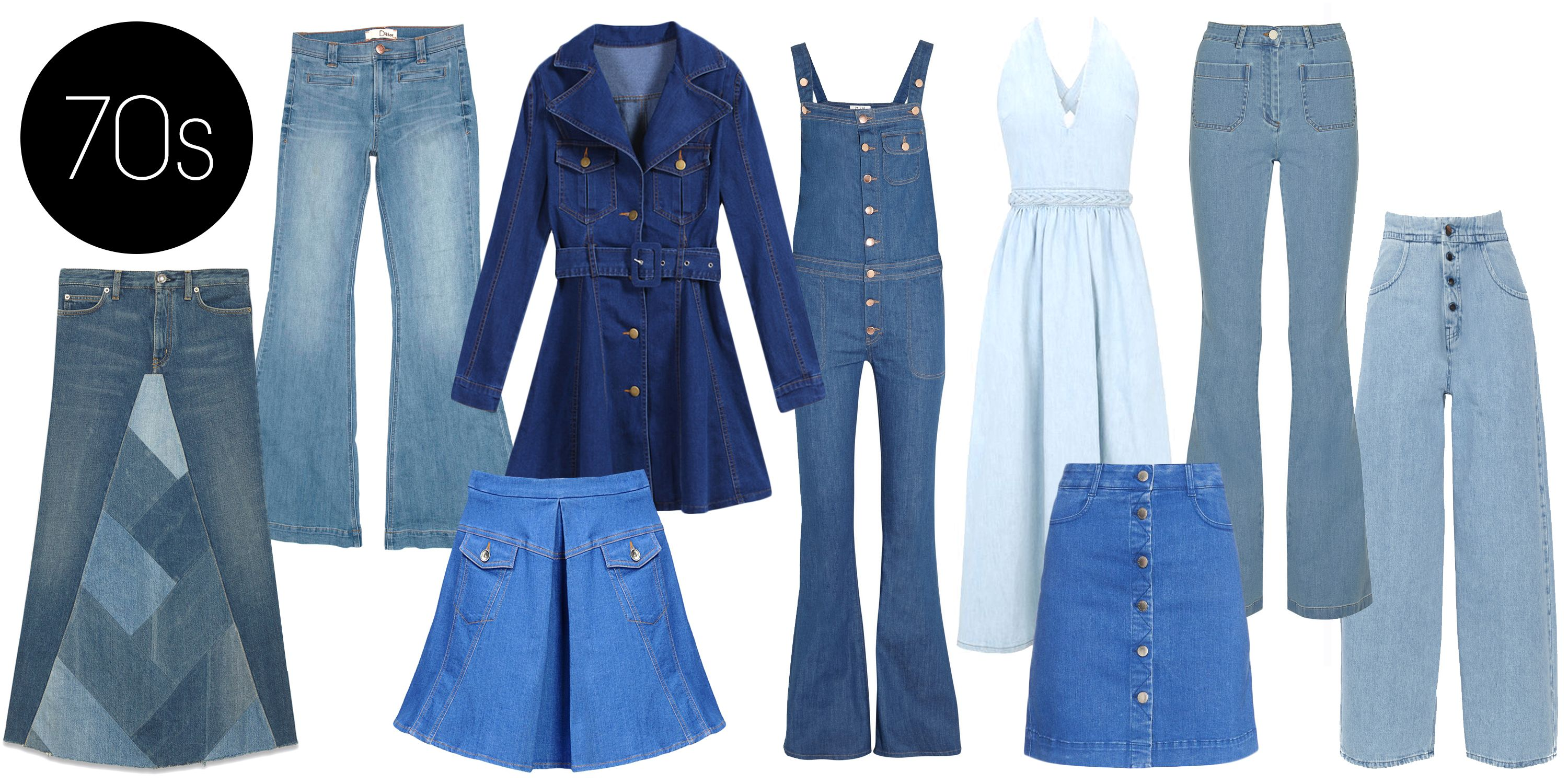 "<p>Bell-bottoms and silhouettes emphasizing the waist ran as freely as Woodstock attendees in the mud. Eventually these denim styles faded out due to the production and preference of polyester clothing.</p> <p>Romwe Denim Dress, $24; <a href=""http://www.romwe.com/Lapel-Belt-Pockets-Denim-Dress-p-100302-cat-664.html?SASSource=cjunction"">romwe.com</a></p> <p>Valentino Denim Dress, $1690; <a href=""http://www.valentino.com/us/dresses_cod34461787eg.html"">valentino.com</a></p> <p>MIH Jeans The Dix Stretch-denim Flared Overalls, $335; <a href=""http://www.net-a-porter.com/us/en/product/493225"">net-a-porter.com</a></p> <p>Michael Kors High-rise Flared Jeans, $495; <a href=""http://www.net-a-porter.com/product/504108/Michael_Kors/high-rise-flared-jeans"">net-a-porter.com</a></p> <p>MM6 Maison Martin Margiela High-waisted Wide-leg Jeans, $395; <a href=""http://www.net-a-porter.com/product/519870/MM6_Maison_Martin_Margiela/high-waisted-wide-leg-jeans"">net-a-porter.com</a></p> <p>Dittos Gladys High Rise Flare Jeans, $100; <a href=""http://www.amazon.com/Dittos-Womens-Gladys-Flare-Vintage/dp/B00LFBN1HW"">amazon.com</a></p> <p>Saint Laurent A-line Patchwork Long Skirt, $1450; <a href=""http://www.ysl.com/us/shop-product/women/ready-to-wear-long-skirts-a-line-patchwork-long-skirt-in-blue-selvedge-denim_cod35236580hh.html#dept=cruise15_women_"">ysl.com</a></p> <p>Love Moschino Denim Skirt, $265; <a href=""http://www.moschino.com/us/denim-skirt_cod35237769ue.html?season=secondary"">moschino.com</a></p> <p>Stella McCartney A-line Mini Skirt, $565; <a href=""http://www.matchesfashion.com/product/1012870?qxjkl=tsid:38929