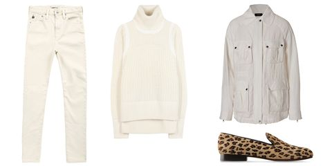 """Alexa Chung x AG Jeans Briana Jeans, $225; <a href=""""http://www.agjeans.com/the-brianna-sulfur-natural/d/9779_c_1024"""">agjeans.com</a>  Helmut Lang Austere Frames Turtleneck Sweater, $336; <a href=""""http://www.mytheresa.com/en-us/austere-frames-turtleneck-sweater.html"""">mytheresa.com</a>  Joseph Linen Coat, $280; <a href=""""http://www.stylebop.com/product_details.php?id=296341&amp;tmad=c&amp;tmcampid=16&amp;tmclickref=Hy3bqNL2jtQ&amp;campaign=affiliate/linkshare/usa/&amp;utm_source=affiliate&amp;utm_medium=linkshare&amp;utm_campaign=adsus&amp;siteID=Hy3bqNL2jtQ-xGH_n1azITql6ZrWbup47A"""">stylebop.com</a>  C.B Made in Italy Loafers, $425; <a href=""""http://www.shoescribe.com/us/women/loafers_cod44415395ug.html"""">shoescribe.com</a>"""
