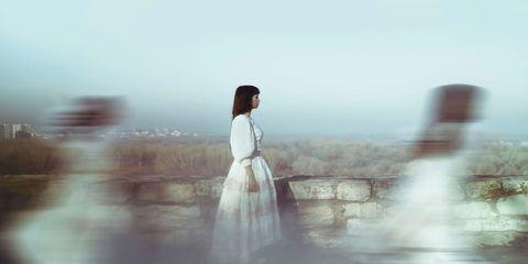 Photograph, Atmospheric phenomenon, Black hair, Street fashion, Long hair, Reflection, Portrait photography, Model, Fog, Photo shoot,