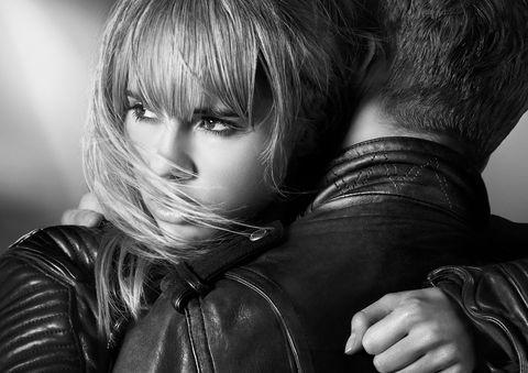 Jacket, Style, Leather, Leather jacket, Monochrome, Monochrome photography, Bangs, Flash photography, Black-and-white, Zipper,