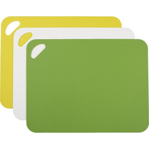 """I have come to really value these. I hate doing dishes, and it's essential to be able to whip out a clean cutting board when I have not gotten around to cleaning from the night before!""  <!--EndFragment-->Set of 3 Flexible Grip Mats, $13; <a href=""http://www.crateandbarrel.com/set-of-3-flexible-grip-mats/s602917"">crateandbarrel.com</a>"