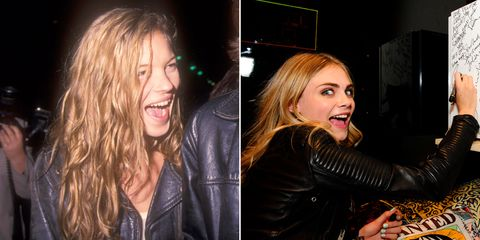 "They are both British, blonde, and unbelievably bold. A young Kate never seemed to take herself too seriously, as evidenced by the many paparazzi shots of her hamming it up for the camera back in the '90s. And Delevingne exhibits a similar sense of humor when it comes to press: She walks around in <a href=""http://www.elle.com/fashion/news/a25552/10-reasons-we-googled-cara-delevingne-this-year/"">animal onesies</a>, makes funny faces, and shows off her <a href=""http://www.elle.com/fashion/g8104/models-tattoos-cara-delevigne/?slide=1"">statement-making tattoos</a>."