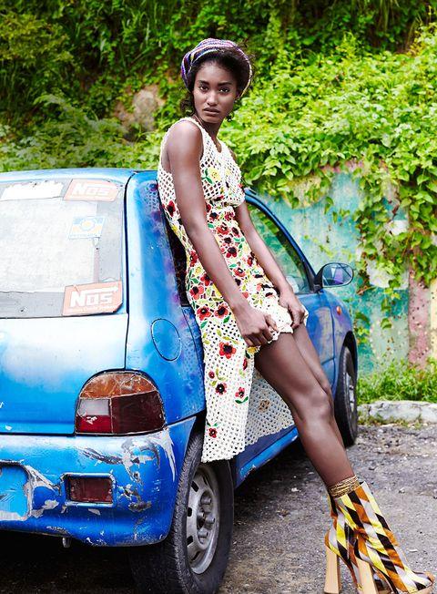 <em>Crochet silk dress, </em>Oscar de la Renta<em>, $2,990, visit oscardelarenta.com. Gold pendant necklace, </em>Tiffany &amp; Co.<em>, $750. Silk socks, </em>Maria La Rosa<em>, $51. Leather ankle boots, </em>Prada<em>, price on request. Stylist's own tam.</em>