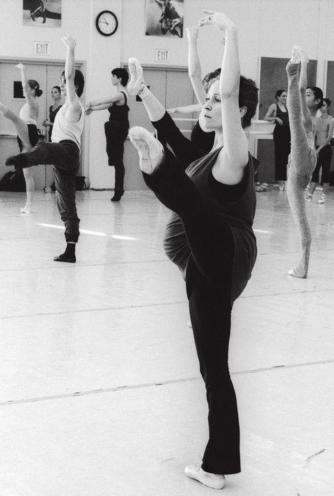 <p>Tina LeBlanc&nbsp;takes class when she is eight months pregnant. (1986)</p>