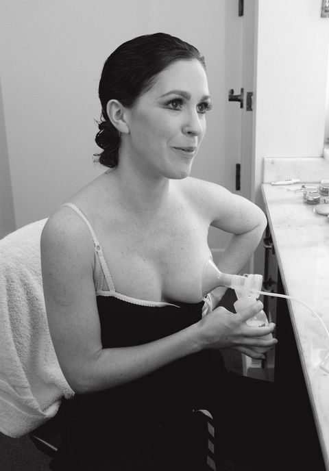 <p>Kristin Long has received the ten-minute warning before her performance, so she pumps milk in her dressing room. (2009)</p>