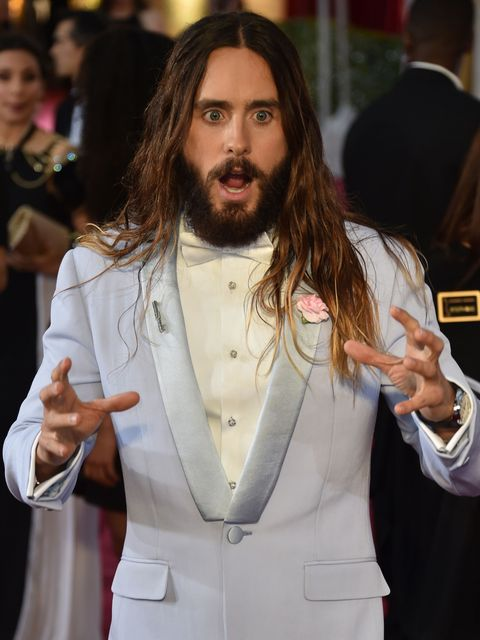 Jared Leto poses on the red carpet for the 87th Oscars on February 22, 2015 in Hollywood, California. AFP PHOTO/ MLADEN ANTONOV        (Photo credit should read MLADEN ANTONOV/AFP/Getty Images)