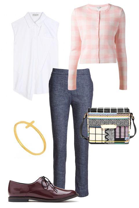 "Oscar de la Renta Check Pattern Cropped Cardigan, $1,590; <a href=""http://www.farfetch.com/shopping/women/oscar-de-la-renta-check-pattern-cropped-cardigan-item-10930919.aspx?storeid=9512&amp;ffref=lp_145_"">farfetch.com</a>  Theory Thaniel Chambray Crop Pant, $285; <a href=""http://www.intermixonline.com/product/theory+thaniel+chambray+crop+pant.do?sortby=ourPicks&amp;CurrentCat=114578"">intermix.com</a>  Balenciaga Cotton Shirt, $695; <a href=""http://www.mytheresa.com/en-us/sleeveless-cotton-shirt-376496.html"">mytheresa.com</a>  Forever 21 Classic Oxfords, $25;<a href=""http://www.forever21.com/Product/Product.aspx?BR=f21&amp;Category=shoes_flats-oxfords&amp;ProductID=2049258221&amp;VariantID=""> forever21.com</a>  Zara Croc Mini City Bag, $60; <a href=""http://www.zara.com/us/en/woman/handbags/croc-mini-city-bag-c358019p2446573.html"">zara.com</a>  &amp; OTHER STORIES Graphic Leather Bag, $120; <a href=""http://www.stories.com/us/Bags/All_bags/Graphic_Leather_Bag/590765-15357496.1"">stories.com</a>  Dogeared Faith Ring, $61; <a href=""http://us.asos.com/Dogeared-Faith-Ring/zsp6p/?iid=2866300&amp;cid=4175&amp;Rf989=4923&amp;sh=0&amp;pge=0&amp;pgesize=204&amp;sort=-1&amp;clr=Gold&amp;totalstyles=119&amp;gridsize=3&amp;mporgp=L0RvZ2VhcmVkL0RvZ2VhcmVkLUZhaXRoLVJpbmcvUHJvZC8"">asos.com</a>"