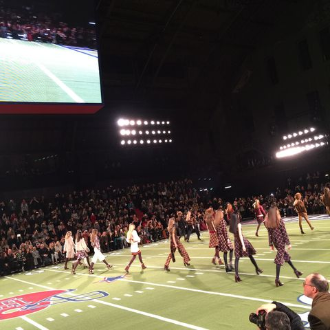 "This was the finale at the Tommy Hilfiger show. The models walked to ""Crazy in Love"" by Beyoncé!"