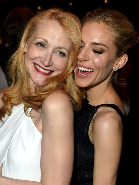 BEVERLY HILLS, CA - FEBRUARY 22:  (EXCLUSIVE ACCESS, SPECIAL RATES APPLY) Actresses Patricia Clarkson (L) and Sienna Miller attend the 2015 Vanity Fair Oscar Party hosted by Graydon Carter at the Wallis Annenberg Center for the Performing Arts on February 22, 2015 in Beverly Hills, California.  (Photo by Jeff Vespa/VF15/WireImage)
