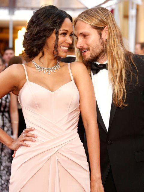 HOLLYWOOD, CA - FEBRUARY 22:  Actress Zoe Saldana and artist Marco Perego attend the 87th Annual Academy Awards at Hollywood &amp&#x3B; Highland Center on February 22, 2015 in Hollywood, California.  (Photo by Jeff Vespa/WireImage)