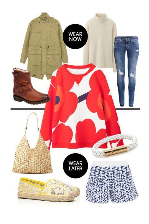 "Marimekko Kris College Shirt, $179; <a href=""https://www.marimekko.com/se/onlinestore/product/kris-college-shirt-041631-196"">marimekko.com</a>&nbsp;  <strong>Now:</strong>  Zara Cotton Parka, $129; <a href=""http://www.zara.com/us/en/woman/outerwear/cotton-parka-c367501p2484029.html"">zara.com</a>  Uniqlo Supima Cotton Turtle Neck Long Sleeve T, $15; <a href=""http://www.uniqlo.com/us/product/women-supima-cotton-turtle-neck-long-sleeve-t-126398.html#08"">uniqlo.com</a>  H&amp;M Super Skinny Super Low Jeans, $40; <a href=""http://www.hm.com/us/product/37971?article=37971-A"">hm.com</a>  Frye Valerie Bootie, $428; <a href=""http://shop.nordstrom.com/s/frye-valerie-bootie/3495167?origin=category-personalizedsort&amp;contextualcategoryid=0&amp;fashionColor=COGNAC&amp;resultback=6827"">nordstrom.com</a>  <strong>Then:</strong>  Alexander McQueen Floral Stretch-Jacquard Shorts, $1,175;&nbsp;<a href=""http://www.net-a-porter.com/us/en/product/508747"">net-a-porter.com</a>  Tory Burch Lucia Lace Espadrilles, $185; <a href=""http://www.toryburch.com/lucia-lace-espadrille/51148404.html?start=14&amp;dwvar_51148404_color=731&amp;cgid=shoes-espadrilles&amp;dwvar_51148404_size=5"">toryburch.com</a>  Mar Y Sol Palermo Tote, $135; <a href=""http://store.shopmarysol.com/palermo.html"">shopmarysol.com</a>  J. Crew Braided Leather Cord Bracelet, $38; <a href=""https://www.jcrew.com/womens_category/jewelry/bracelets/PRDOVR~C5183/C5183.jsp"">jcrew.com</a>"