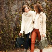 Brown, Trousers, Bag, Textile, Outerwear, Coat, Luggage and bags, Fashion accessory, Blazer, Shoulder bag,