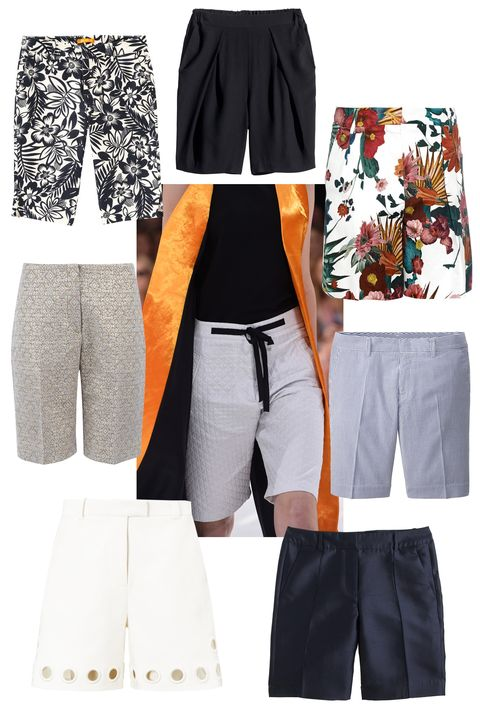 """There was a collective sigh of relief when we saw the Bermuda Short last season, everywhere from Dior to J.Crew. We have yet to shed the pounds we packed throughout the winter and these thighs are not ready for the hot pant world we live in.   Clockwise:  Joe Fresh Tropical Print Short, $49; <a href=""""https://www.joefresh.com/us/Categories/Women/Shorts/Tropical-Print-Short/p/WS5B170004_001"""">joefresh.com</a>  H&amp;M Bermuda Shorts, $40; <a href=""""http://www.hm.com/us/product/28934?article=28934-A"""">hm.com</a>  Sportmax Code Lodola Shorts, $205;<a href=""""http://www.matchesfashion.com/product/1004340"""">matchesfashion.com</a>  Uniqlo Cotton Strip Shorts, $30; <a href=""""http://www.uniqlo.com/us/product/women-cotton-stripe-shorts-150595.html#69"""">uniqlo.com</a>  J. Crew Collection Silk Shantung Bermuda Short, $150; <a href=""""https://www.jcrew.com/womens_category/shorts/jcrewcollection/PRDOVR~A2115/A2115.jsp"""">jcrew.com</a>  3.1 Phillip Lim Eyelet Long Shorts, $450; <a href=""""http://www.avenue32.com/us/white-eyelet-long-shorts-78401/"""">avenue32.com</a>  Joseph Jacquard Lame Wren Bermuda Short, $380; <a href=""""http://www.joseph-fashion.com/shorts/jacquard-lame-wren-bermuda-short/invt/s5127265022910"""">joseph-fashion.com</a>"""