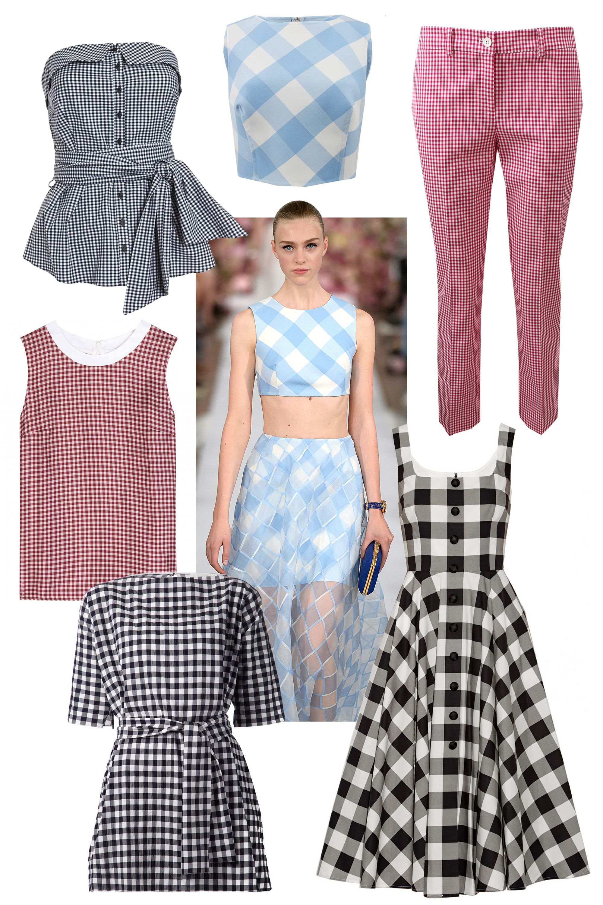 "The classic use of Gingham last season was seen in the full skirts and girlish tops at Diane von Furstenburg, Oscar de la Renta and Altuzarra. Forever associated with wholesome, summery activities, this sweet print is perfect for when it finally warms up.  <!--StartFragment-->   Clockwise:  Intermix Gingham Tie Front Bustier, $225; &lt;a href=""http://www.intermixonline.com/product/exclusive+for+intermix+gingham+tie+front+bustier.do?sortby=ourPicks&amp;amp;CurrentCat=4""&gt;intermixonline.com&lt;/a&gt;  Oscar de la Renta Buffalo Check CropTop, $890; &lt;a href=""http://www.marissacollections.com/shop/buffalo-check-crop-top-s15n6096t.html""&gt;marissacollections.com&lt;/a&gt;  Michael Kors Samantha Pant, $595; &lt;a href=""http://www.marissacollections.com/shop/gingham-samantha-pant-214ake071.html""&gt;marissacollections.com&lt;/a&gt;  Dolce &amp;amp; Gabbana Gingham Cotton-Poplin Dress, $2,295; &lt;a href=""http://www.net-a-porter.com/product/509224/Dolce_and_Gabbana/gingham-cotton-poplin-dress""&gt;net-a-porter.com&lt;/a&gt;  Chlo&eacute; Gingham Check Tunic, $1,050; &lt;a href=""http://www.farfetch.com/shopping/women/chloe-gingham-check-tunic-item-10920030.aspx?storeid=9531&amp;amp;ffref=lp_5_""&gt;farfetch.com&lt;/a&gt;  Victoria Beckham Denim Silk Top, $395; &lt;a href=""http://www.mytheresa.com/en-us/silk-top-376413.html""&gt;mytheresa.com&lt;/a&gt;"