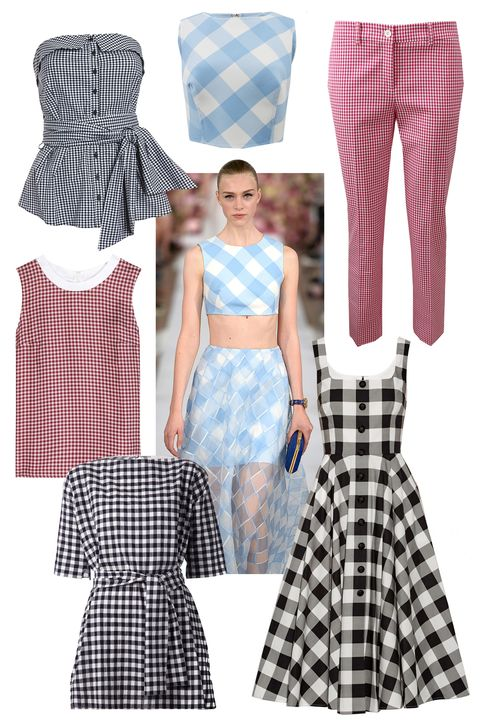 """The classic use of Gingham last season was seen in the full skirts and girlish tops at Diane von Furstenburg, Oscar de la Renta and Altuzarra. Forever associated with wholesome, summery activities, this sweet print is perfect for when it finally warms up.  <!--StartFragment-->   Clockwise:  Intermix Gingham Tie Front Bustier, $225; <a href=""""http://www.intermixonline.com/product/exclusive+for+intermix+gingham+tie+front+bustier.do?sortby=ourPicks&amp;CurrentCat=4"""">intermixonline.com</a>  Oscar de la Renta Buffalo Check CropTop, $890; <a href=""""http://www.marissacollections.com/shop/buffalo-check-crop-top-s15n6096t.html"""">marissacollections.com</a>  Michael Kors Samantha Pant, $595; <a href=""""http://www.marissacollections.com/shop/gingham-samantha-pant-214ake071.html"""">marissacollections.com</a>  Dolce &amp; Gabbana Gingham Cotton-Poplin Dress, $2,295; <a href=""""http://www.net-a-porter.com/product/509224/Dolce_and_Gabbana/gingham-cotton-poplin-dress"""">net-a-porter.com</a>  Chloé Gingham Check Tunic, $1,050; <a href=""""http://www.farfetch.com/shopping/women/chloe-gingham-check-tunic-item-10920030.aspx?storeid=9531&amp;ffref=lp_5_"""">farfetch.com</a>  Victoria Beckham Denim Silk Top, $395; <a href=""""http://www.mytheresa.com/en-us/silk-top-376413.html"""">mytheresa.com</a>"""