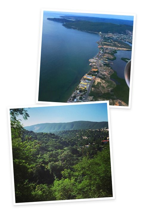 The views during my descent into Kingston were not what I expected.: lush forests and rolling mountains in addition to the beaches.