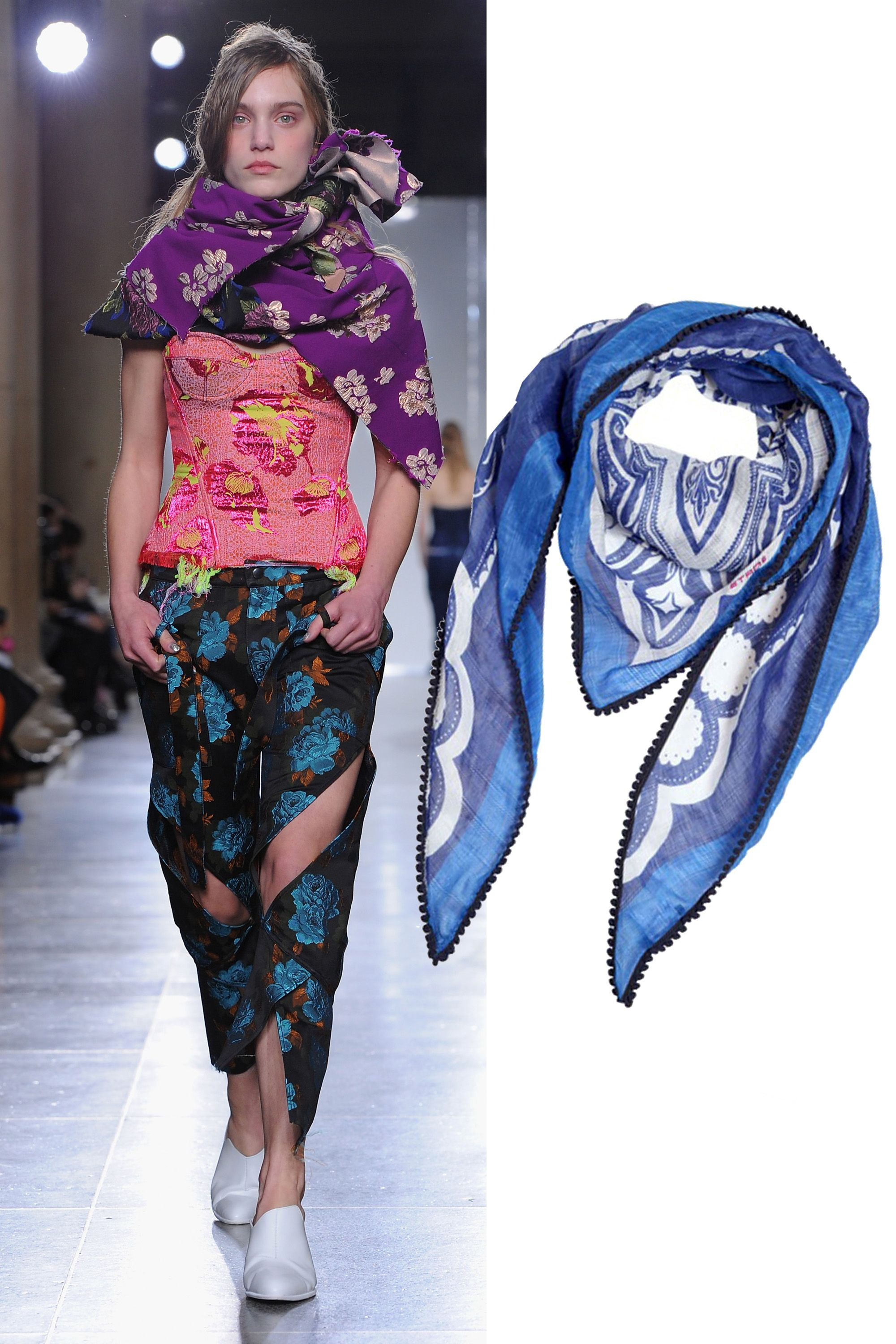 "Etro Linen and Silk Printed Triangle Scarf, $370; <a href=""http://rstyle.me/n/xhew6bc6jf "">luisaviaroma.com</a>"
