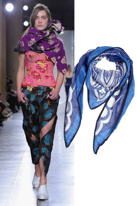 "Etro Linen and Silk Printed Triangle Scarf, $370; <a href=""http://rstyle.me/n/xhew6bc6jf "">luisaviaroma.com</a>&nbsp;"