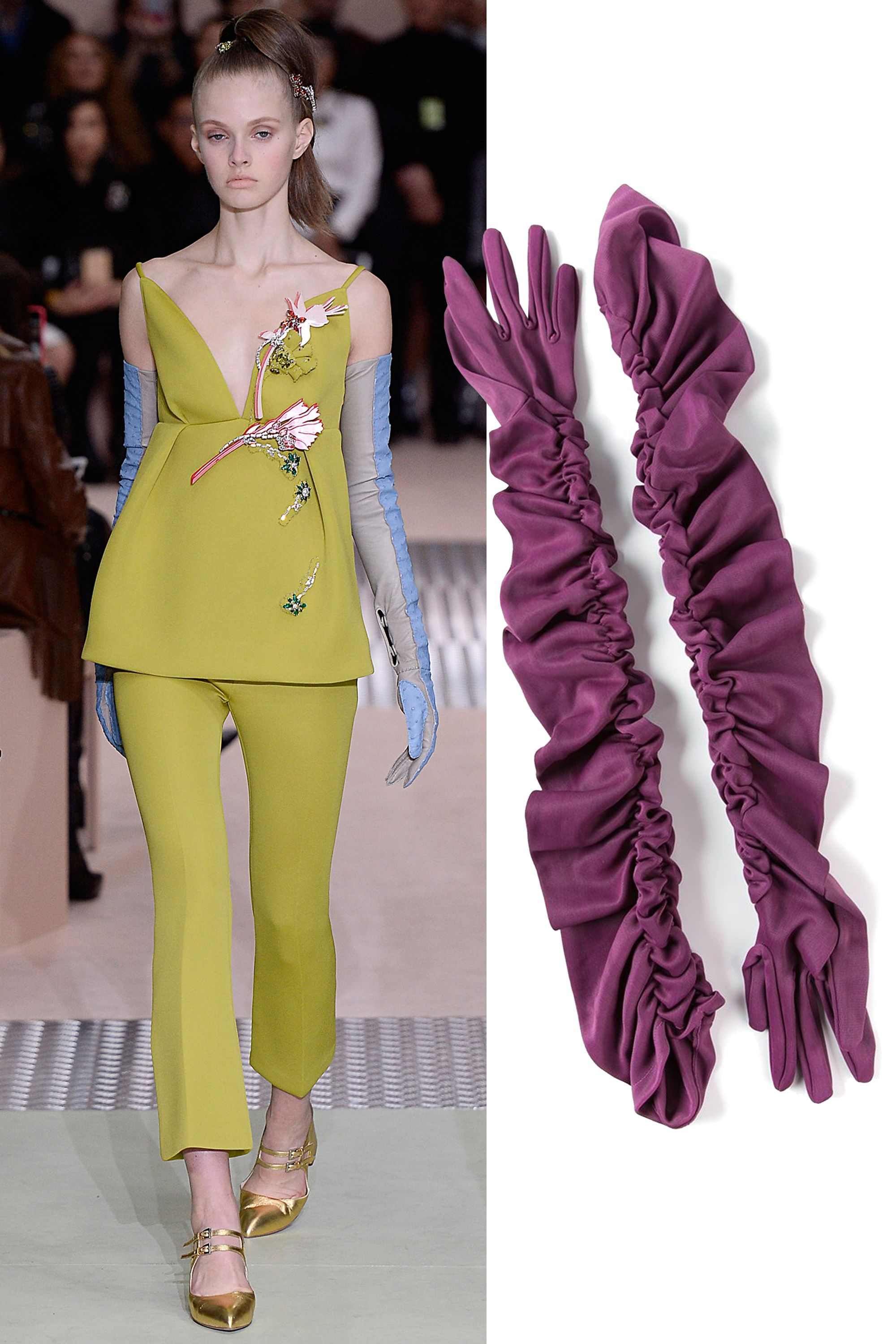 "Biba Vintage Ruched Elbow Length Gloves, $240; <a href=""http://rstyle.me/n/xhw26bc6jf"">farfetch.com</a>"