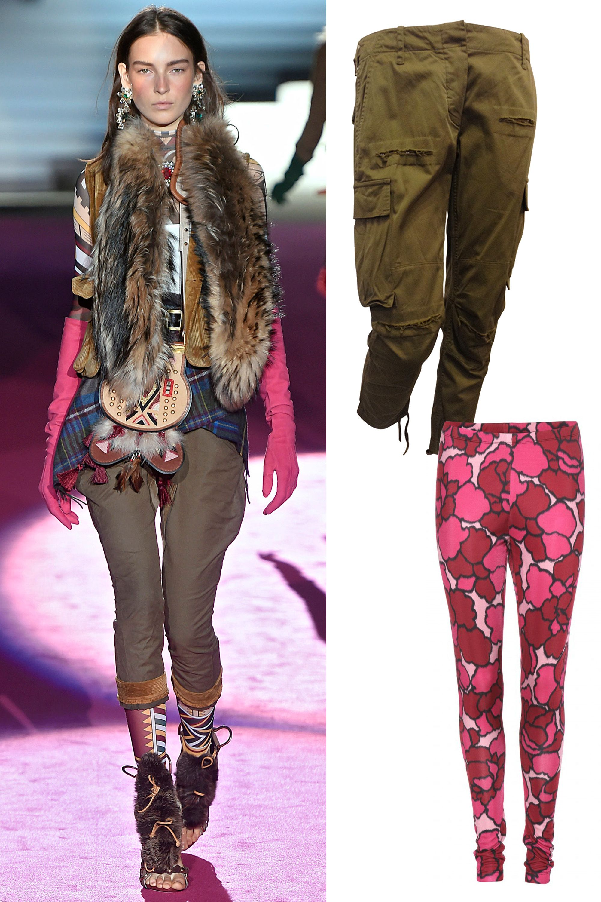 "Marc Jacobs Printed Leggings, $889; <a href=""http://rstyle.me/n/xhw5wbc6jf"">mytheresa.com</a>  Balmain Olive Green Cargo Pants, $349; <a href=""https://www.1stdibs.com/fashion/clothing/pants/balmain-olive-green-cargo-pants/id-v_416082/ "">1stdibs.com</a>"