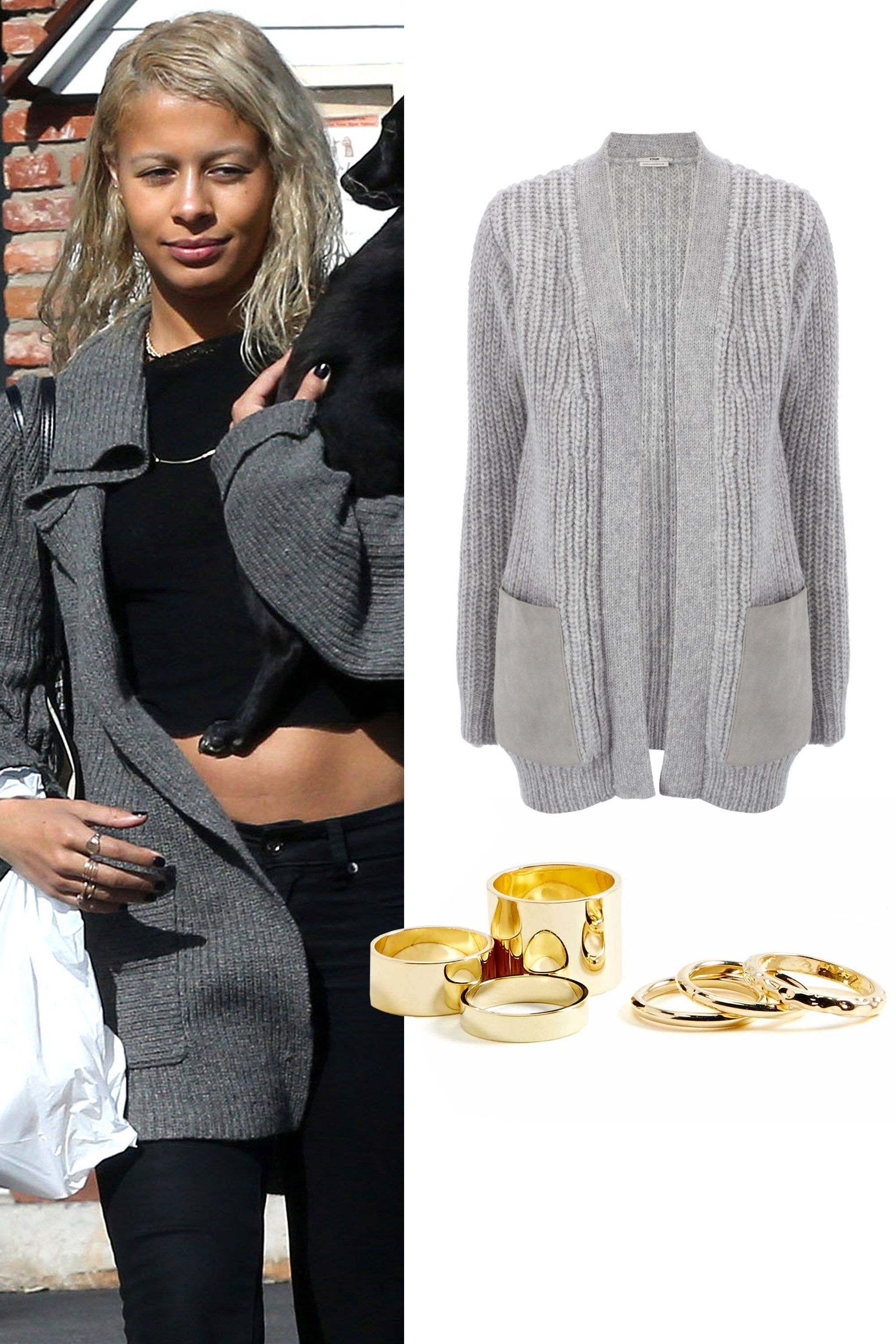 "Nasty Gal Chronicle Ring Set, $18; <a href=""http://rstyle.me/n/v6dyebc6jf"">nastygal.com</a>  Edun Suede Wool Cardigan, $645; <a href=""http://rstyle.me/n/xhdv2bc6jf"">avenue32.com</a>"