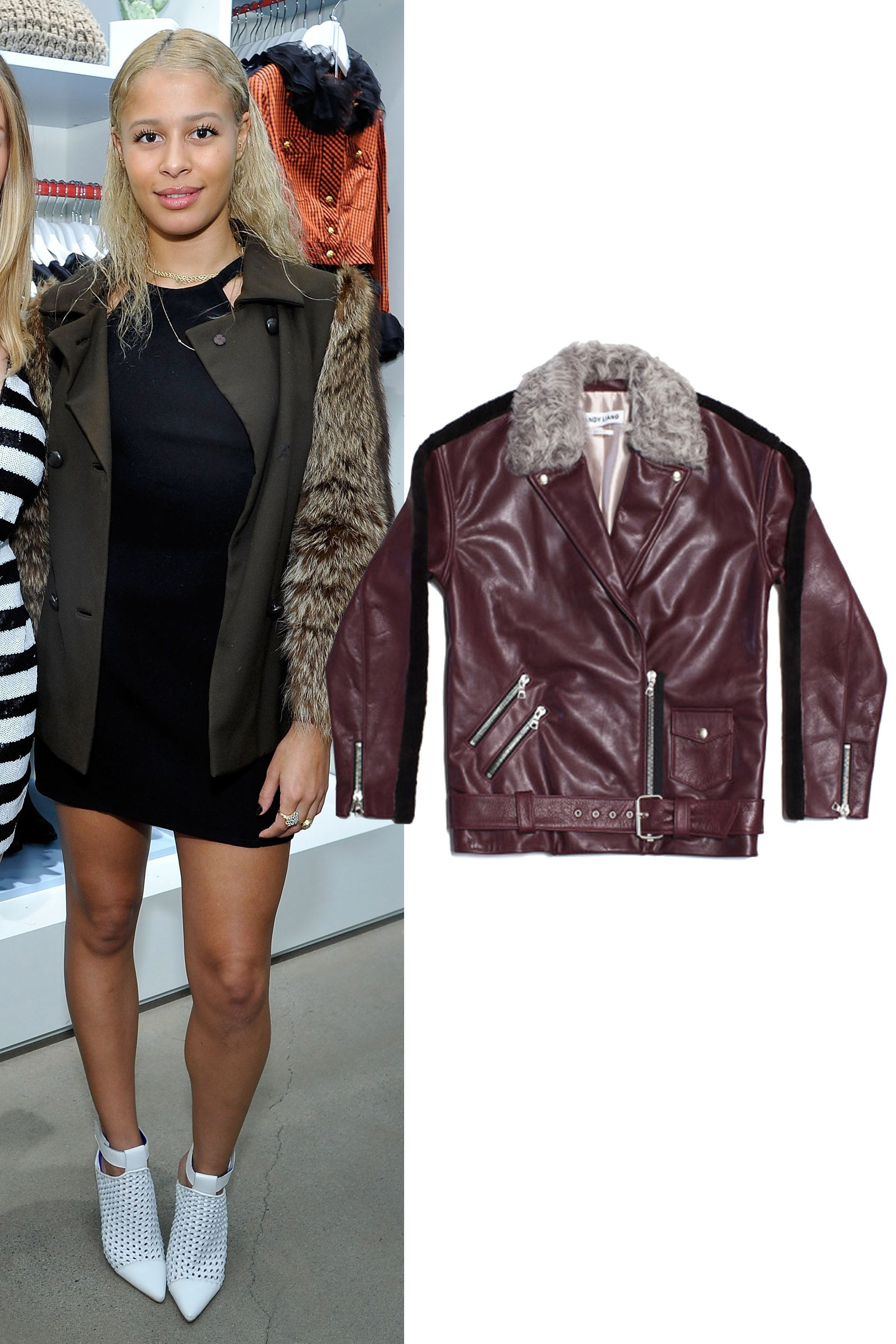 "Sandy Liang Bowery Leather Jacket, $2,600; <a href=""http://www.lyst.com/clothing/sandy-liang-bowery-leather-jacket-sandy/"">lyst.com</a>"