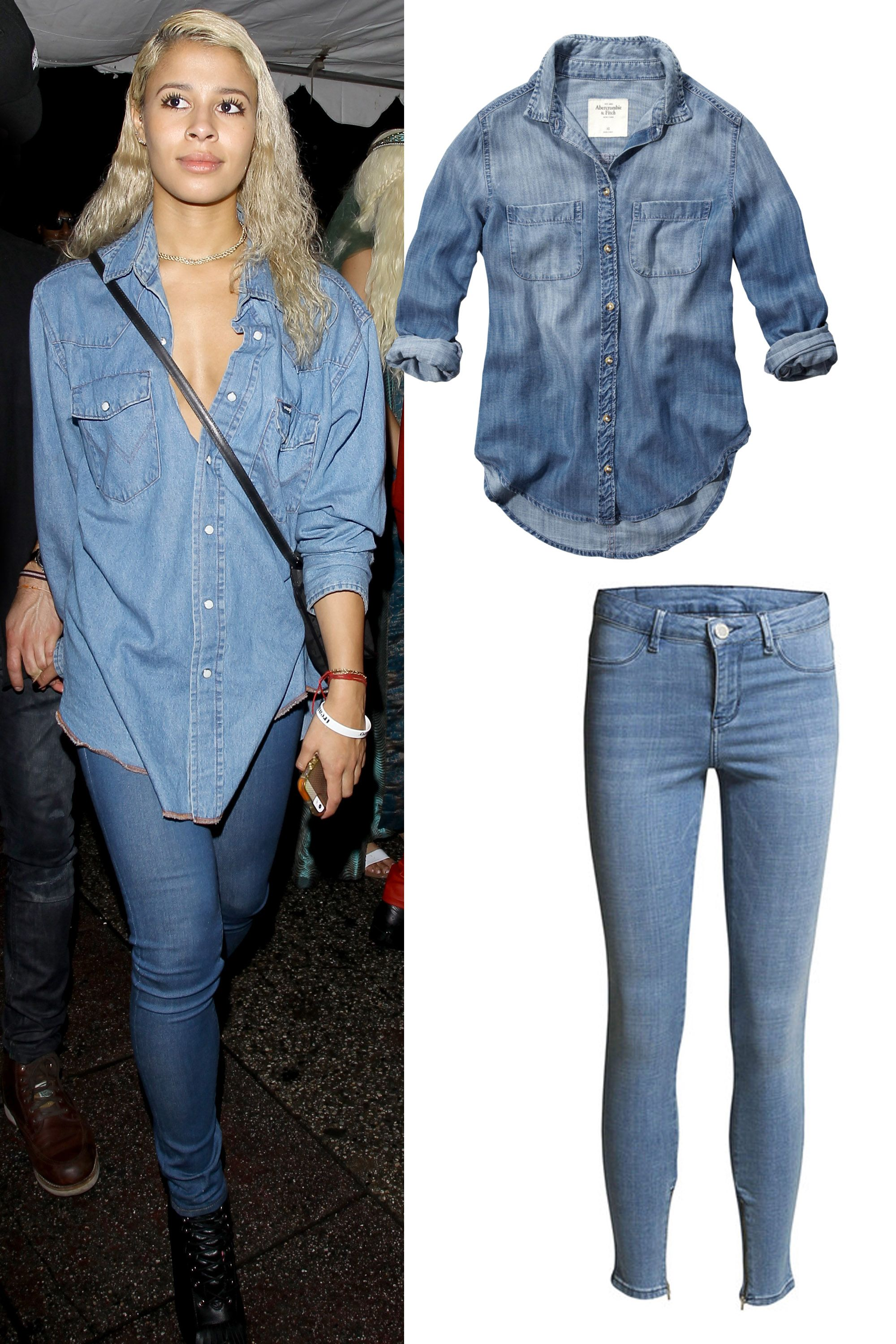 "Abercrombie & Fitch Eddy Denim Shirt, $68; <a href=""http://www.abercrombie.com/shop/us/p/eddy-denim-shirt-2287071?cmp=DIS:_ANF"">abercrombie.com</a>  2nd Day Jolie True Blue Skinny Jean, £120; <a href=""http://www.the-dressingroom.com/item/2nd-Day/JOLIE-TRUE-BLUE-SKINNY-JEANS-INDIGO-HEAVY-ENZYME/AMZY#.VPSNCK1g69F"">the-dressingroom.com</a>"