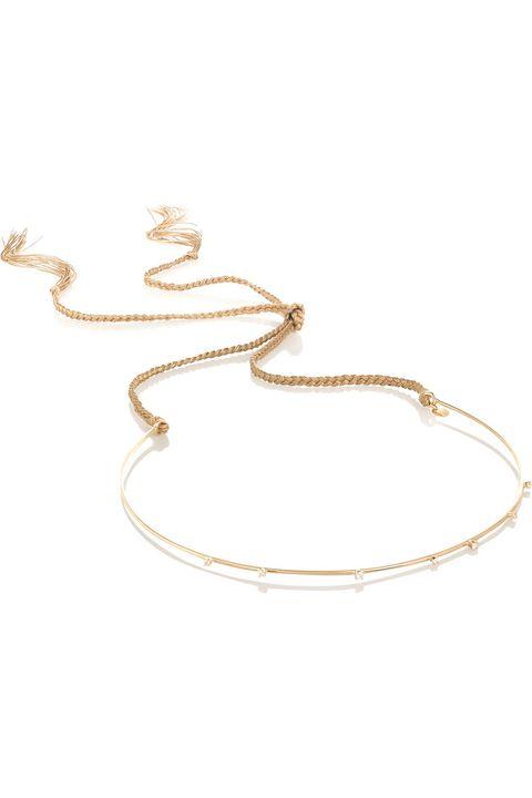 """Jennifer Behr Maya 14-Karat Gold Diamond Hairband, $4,950;&nbsp;<a href=""""http://www.net-a-porter.com/us/en/product/543660"""">net-a-porter.com</a>"""