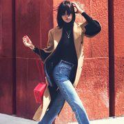 Denim, Trousers, Jeans, Textile, Street fashion, Black hair, Thigh, Leather, Flash photography, Waist,