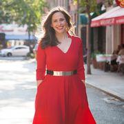 Sleeve, Shoulder, Dress, Red, One-piece garment, Formal wear, Street fashion, Day dress, Waist, Maroon,