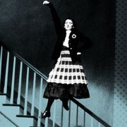 Dress, Style, Stairs, One-piece garment, Monochrome, Animation, Handrail, Costume design, Baluster, Day dress,
