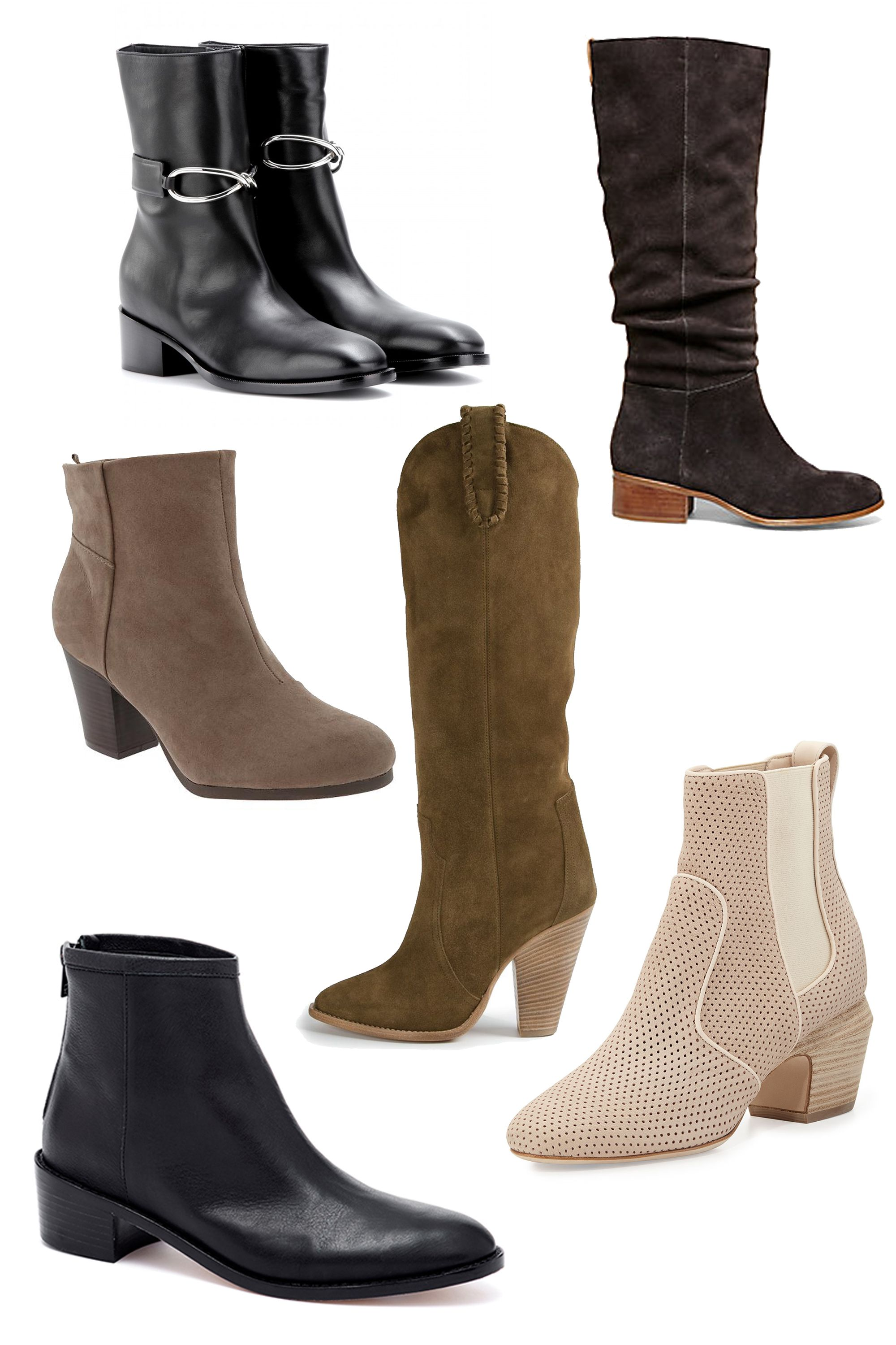 "(Left to right)  Balenciaga Leather Boots, $1,195; <a target=""_blank"" href=""http://www.mytheresa.com/en-us/leather-boots-242545.html"">mytheresa.com</a>  Steve Madden Pondrosa Boots, $130; <a target=""_blank"" href=""http://www.stevemadden.com/product/WOMENS/Boots/PONDROSA/c/2163/sc/2211/179486.uts?sortByColumnName=Relevance&selectedColor=TAUPE-SUEDE&$MR-THUMB$"">stevemadden.com</a>  Old Navy Faux-Suede Ankle Boots, $40; <a target=""_blank"" href=""http://oldnavy.gap.com/browse/product.do?cid=97855&vid=1&pid=978719012 "">oldnavy.com</a>  Isabel Marant Étoile Knee-High Boots, $650; <a target=""_blank"" href=""http://www.farfetch.com/shopping/women/isabel-marant-etoile-etoile-knee-high-boots-item-10898120.aspx?storeid=9727&ffref=lp_23_"">farfetch.com</a>  Fendi Perforated Ankle Boot, $1,150; <a target=""_blank"" href=""http://www.bergdorfgoodman.com/Fendi-Perforated-Leather-Ankle-Boot-Nude/prod101910024_cat379627__/p.prod?icid=&searchType=EndecaDrivenCat&rte=%252Fcategory.service%253FitemId%253Dcat379627%2526pageSize%253D120%2526No%253D120%2526Ns%253DPCS_SORT%2526refinements%253D&eItemId=prod101910024&cmCat=product"">bergdorfgoodman.com</a>  Loeffler Randall Felix Stacked Heel Bootie, $395; <a target=""_blank"" href=""http://www.loefflerrandall.com/LRProduct.aspx?ProductID=988&CategoryID=10 "">loefflerrandall.com</a>"