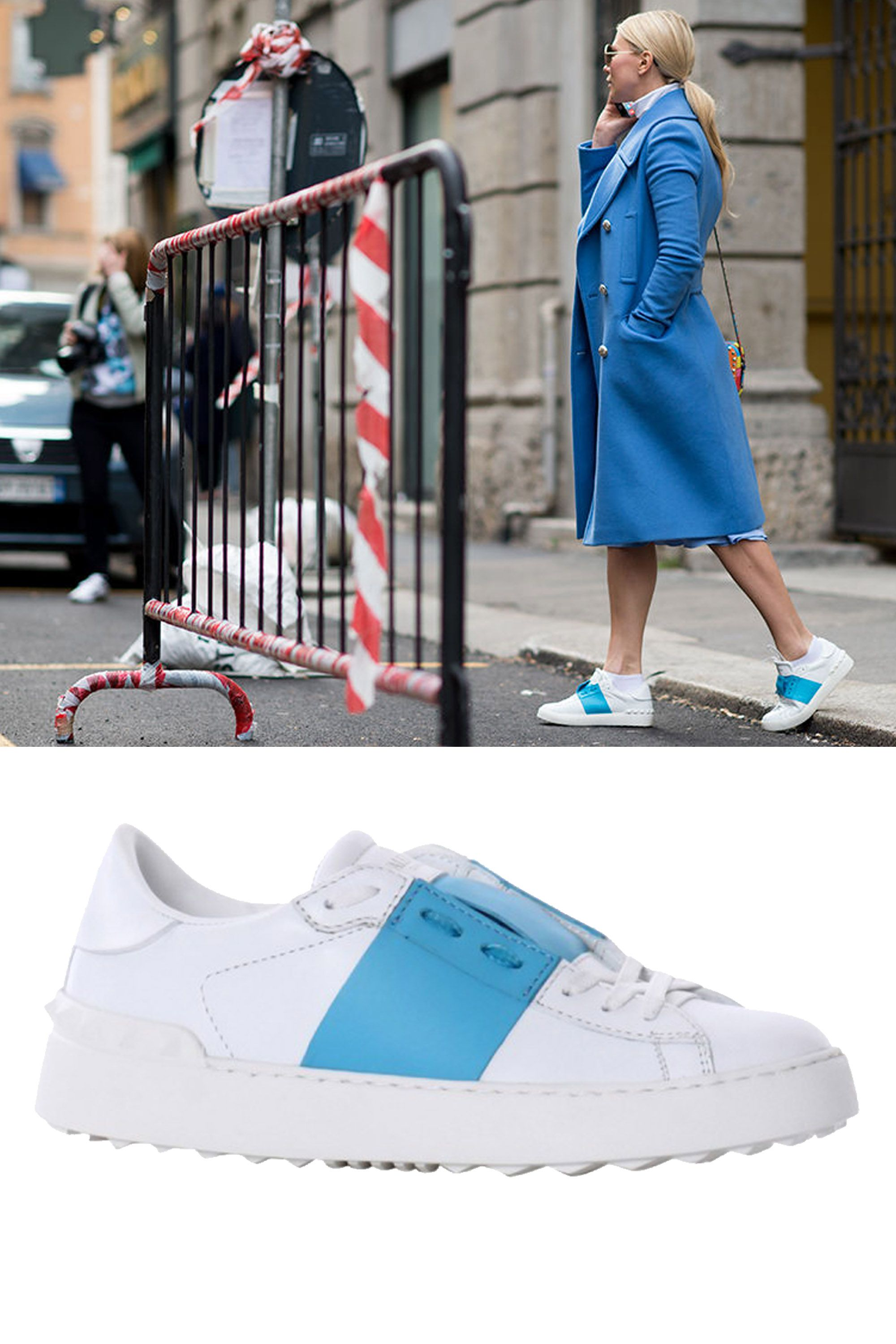 "Valentino Leather Stripe Sneakers, $695; <a href=""http://rstyle.me/n/xrfbwbc6jf"">shopbazaar.com</a>"
