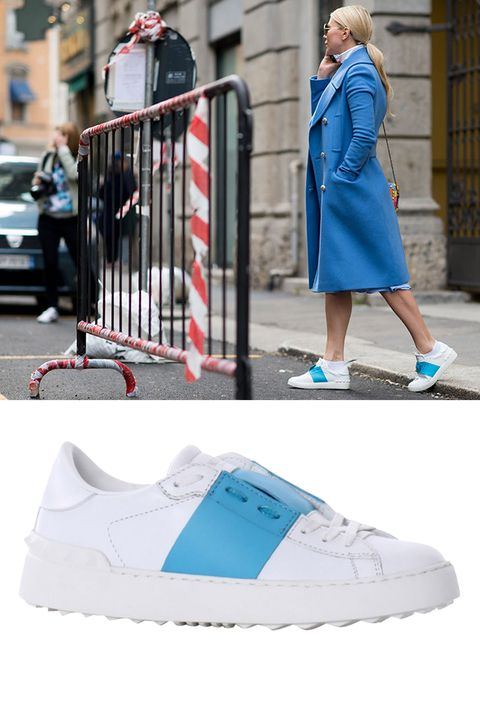 """Valentino Leather Stripe Sneakers, $695; <a href=""""http://rstyle.me/n/xrfbwbc6jf"""">shopbazaar.com</a>"""