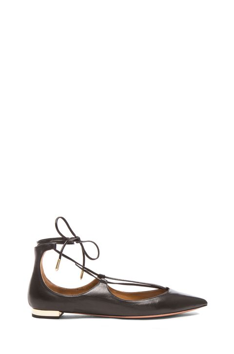 "<p>Aquazzura Christy Lace-Up Flats, $675; <a target=""_blank"" href=""http://rstyle.me/n/xj85wbc6jf"">fwrd.com</a></p>"