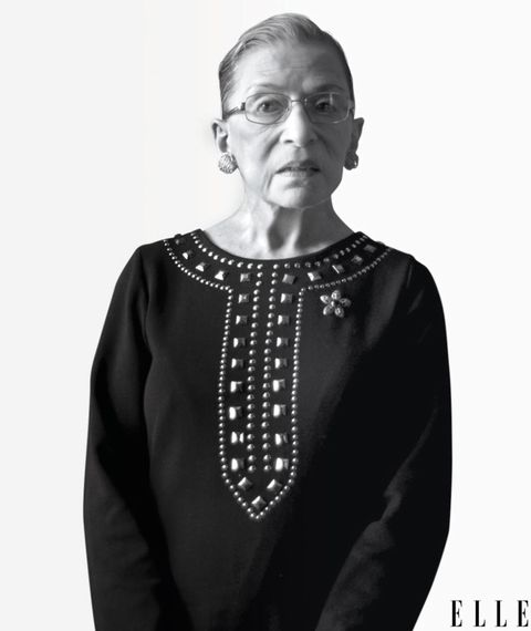"Pathbreaking lawyer and jurist; staunch defender of women's rights, liberties, and equality before the bar; and the second female justice appointed to the Supreme Court—Ruth Bader Ginsburg needs no further introduction to our readers: She sat for a lengthy and widely noted interview that appeared in last <a href=""/culture/career-politics/interviews/a14788/supreme-court-justice-ruth-bader-ginsburg/"">October's issue of ELLE</a>. She blazes her own trail when it comes to style, too, with lace gloves, the occasional top hat, and, on her judicial robes, the distinctive embroidered decorative collars that hark back to earlier centuries of European attire and judicial tradition. Most of all, though, Ginsburg looks simply smashing in black—especially to those who believe in the further perfectibility and broader accessibility of the American dream."