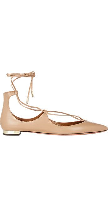 "<p>Aquazzura Christy Lace-Up Flats, $675; <a target=""_blank"" href=""http://rstyle.me/n/xj87nbc6jf"">barneys.com</a></p>"