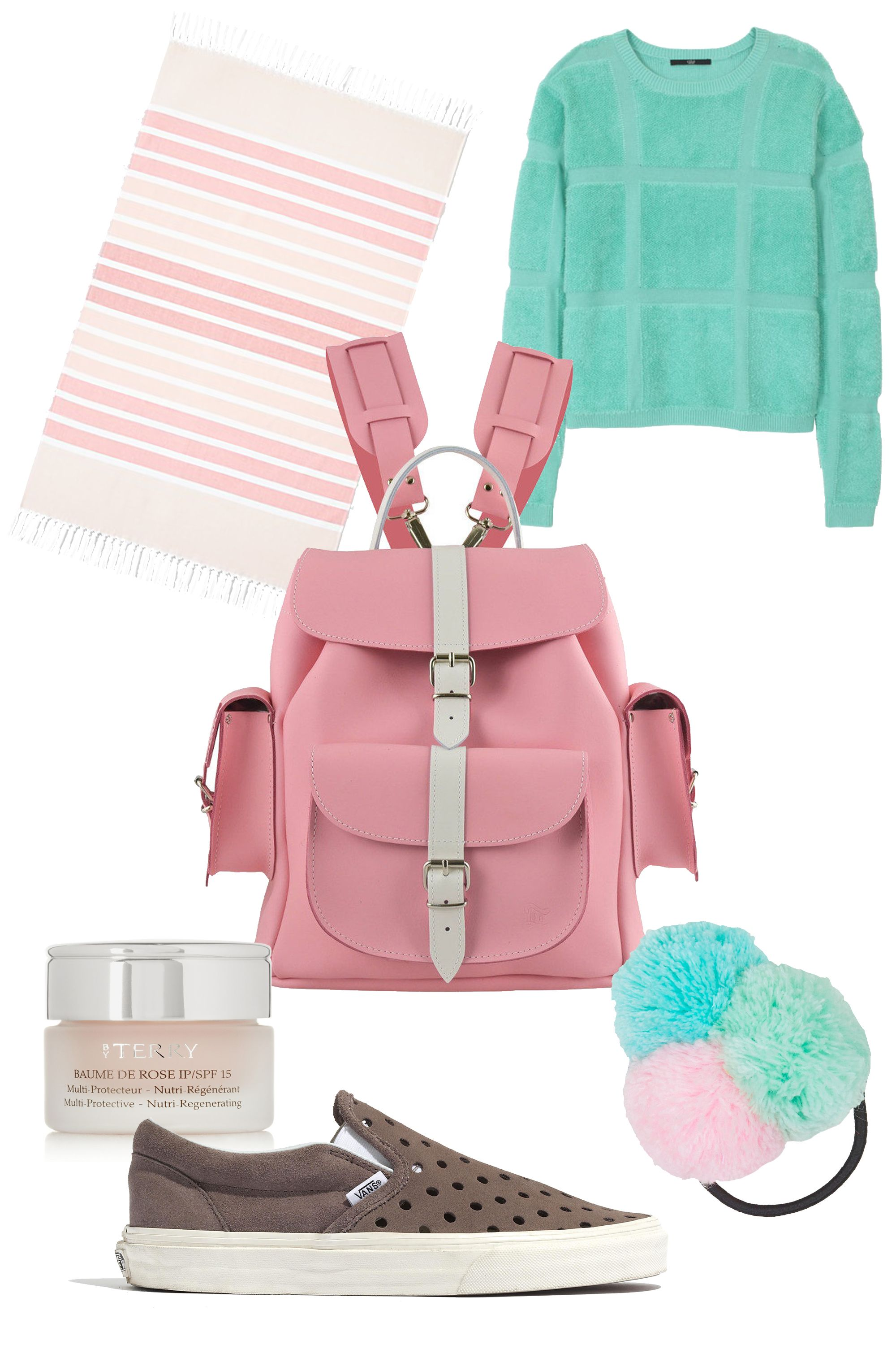 """Grafea Candy Crush Leather Backpack, $265; &lt;a target=""""_blank"""" href=""""http://www.grafea.co.uk/grafea-candy-crush-pink-leather-backpack-p6""""&gt;grafea.co.uk&lt;/a&gt;  Tibi Terry Plaid Crewneck Pullover, $298; &lt;a target=""""_blank"""" href=""""http://www.tibi.com/shop/knitwear-sweatshirts/terry-plaid-crewneck-pullover""""&gt;tibi.com&lt;/a&gt;  Kassatex Bodrum Ombre Stripe Foutas Beach Towel, $63; &lt;a target=""""_blank"""" href=""""http://www1.bloomingdales.com/shop/product/kassatex-bodrum-ombre-stripe-foutas-beach-towel-bloomingdales-exclusive?ID=1251469&amp;amp;CategoryID=1000242&amp;amp;LinkType=&amp;amp;fromPage=contextPage#fn=BATH_TYPE_M%3DBeach Towel%26spp%3D1%26ppp%3D96%26sp%3D1%26rid%3D%26spc%3D22""""&gt;Bloomingdales.com&lt;/a&gt;  Vans &amp;amp; Madewell Holepunch Slip-On Sneakers. $65; &lt;a target=""""_blank"""" href=""""https://www.madewell.com/madewell_category/SHOESANDBOOTS/sneakers/PRDOVR~C3487/C3487.jsp""""&gt;madewell.com&lt;/a&gt;  Topshop Knitted Pom-Pom Hairband, $7; &lt;a target=""""_blank"""" href=""""http://www.topshop.com/en/tsuk/product/bags-accessories-1702216/hair-accessories-464/knitted-pom-pom-hairband-4196072?bi=1&amp;amp;ps=200""""&gt;topshop.com&lt;/a&gt;  BY TERRY SPF 15 Baume de Rose Lip Protectant, $60; &lt;a target=""""_blank"""" href=""""http://www.net-a-porter.com/product/342756/By_Terry/spf15-baume-de-rose-lip-protectant""""&gt;net-a-porter.com&lt;/a&gt;   <!--EndFragment-->"""