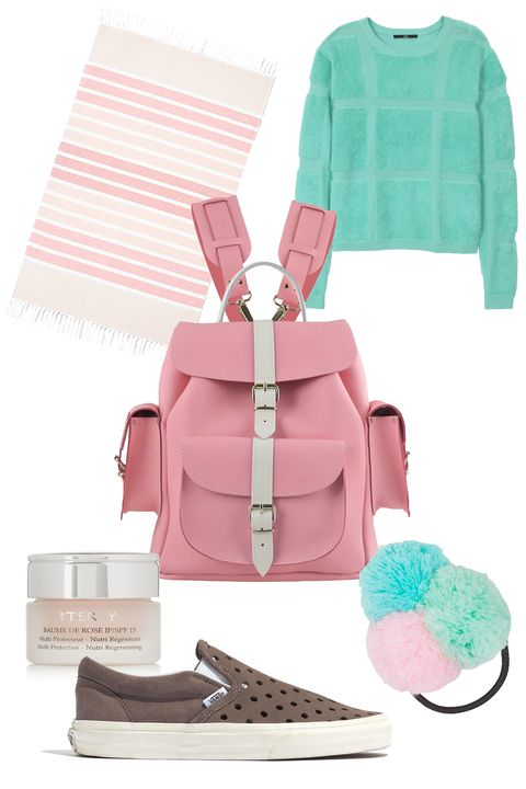 "Grafea Candy Crush Leather Backpack, $265; <a target=""_blank"" href=""http://www.grafea.co.uk/grafea-candy-crush-pink-leather-backpack-p6"">grafea.co.uk</a>  Tibi Terry Plaid Crewneck Pullover, $298; <a target=""_blank"" href=""http://www.tibi.com/shop/knitwear-sweatshirts/terry-plaid-crewneck-pullover"">tibi.com</a>  Kassatex Bodrum Ombre Stripe Foutas Beach Towel, $63; <a target=""_blank"" href=""http://www1.bloomingdales.com/shop/product/kassatex-bodrum-ombre-stripe-foutas-beach-towel-bloomingdales-exclusive?ID=1251469&amp;CategoryID=1000242&amp;LinkType=&amp;fromPage=contextPage#fn=BATH_TYPE_M%3DBeach Towel%26spp%3D1%26ppp%3D96%26sp%3D1%26rid%3D%26spc%3D22"">Bloomingdales.com</a>  Vans &amp; Madewell Holepunch Slip-On Sneakers. $65; <a target=""_blank"" href=""https://www.madewell.com/madewell_category/SHOESANDBOOTS/sneakers/PRDOVR~C3487/C3487.jsp"">madewell.com</a>  Topshop Knitted Pom-Pom Hairband, $7; <a target=""_blank"" href=""http://www.topshop.com/en/tsuk/product/bags-accessories-1702216/hair-accessories-464/knitted-pom-pom-hairband-4196072?bi=1&amp;ps=200"">topshop.com</a>  BY TERRY SPF 15 Baume de Rose Lip Protectant, $60; <a target=""_blank"" href=""http://www.net-a-porter.com/product/342756/By_Terry/spf15-baume-de-rose-lip-protectant"">net-a-porter.com</a>   <!--EndFragment-->"