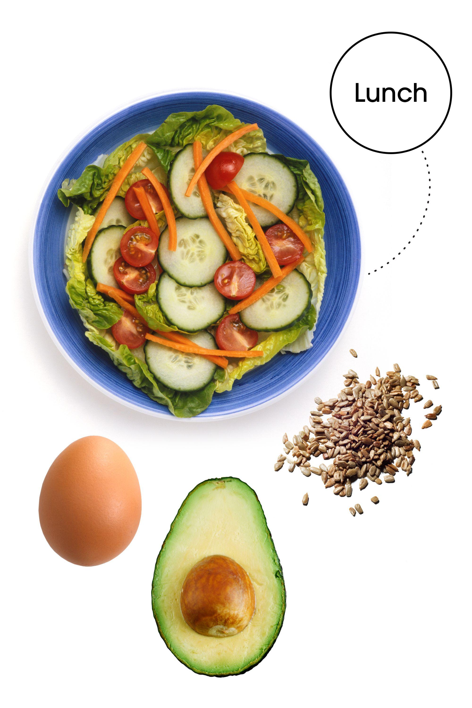 "<em>2 cups salad greens with </em><em>1/2 a diced cucumber, </em><em>10 cherry tomatoes, </em><em>1/4 cup shredded carrots, </em><em>1/2 an avocado, </em><em>1 hard boiled egg, </em><em>1 tbsp sunflower seeds, and a s</em><em>queeze of lemon and vinegar</em><strong>Why: </strong>""I love this lunch for the combo of lean protein, healthy fats, and filling veggies,"" Glassman says. ""It's a 'clean,' simple, go-to salad that won't make your belly bulge!"""