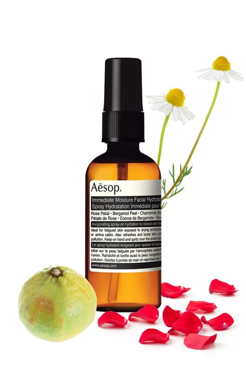 Aesop Immediate Moisture Facial Hydrosol, $25; barneys.com  <strong>What's in it</strong>: Rose, bergamot, and chamomile  <strong>For your skin</strong>: Bergamot targets and tackles blemishes ranging from psoriasis to acne to discoloration, thanks to its antiseptic and antibacterial qualities. (The oil has been known to kill the bacteria that causes these issues and speed up recovery and cell regeneration.) As anti-inflammatories, chamomile and rose both soothe and encourage healing as well.  <strong>For your mood:</strong> These calming properties don't just extend to your complexion, but to your well-being—rose, bergamot, and chamomile are commonly used in aromatherapy to soothe nervousness and stress. Bergamot is even used to remedy anxiety-induced stomachaches and indigestion.