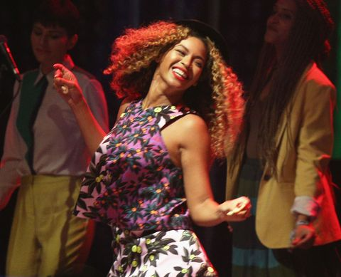 Dress, Jheri curl, Red hair, Ringlet, One-piece garment, Long hair, Day dress, Necklace, Hair coloring, Song,