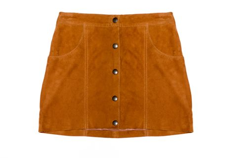 "Capulet Front Button Suede Skirt, $242; <a target=""_blank"" href=""http://rstyle.me/n/ydcrmbc6jf "">revolveclothing.com</a>"
