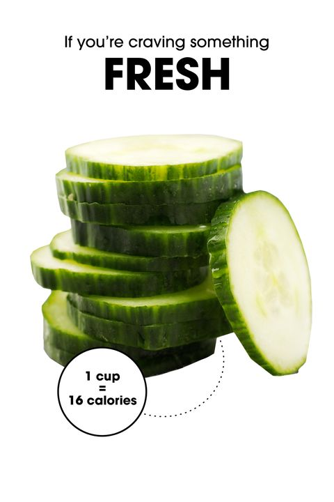 """Yes, sometimes veggies really do the trick! And thanks to their high water content, cucumbers and slightly lesser-known jicama make for a totally refreshing, crunchy snack. (They also both <a target=""""_blank"""" href=""""http://www.elle.com/beauty/health-fitness/how-to/g26010/flat-belly-meals/"""">kill bloat</a>.) James recommends adding a little zip to the cucumbers with some sea salt and chili flakes, and serving the jicama with lime juice and cinnamon to bring out its natural sweetness. (For those unfamiliar, the veggie tastes a lot like a mild pear.)"""