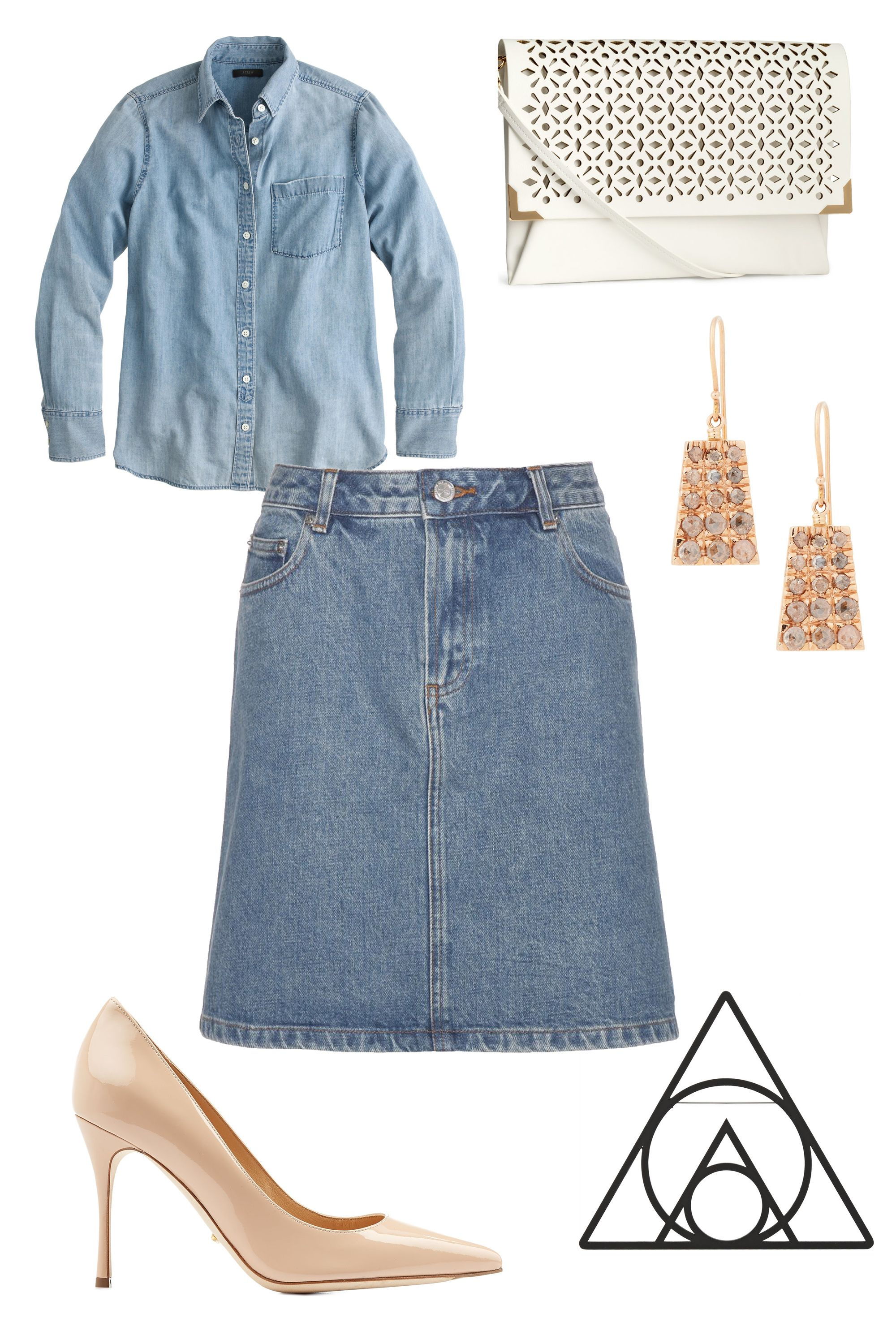 "A.P.C. Denim Skirt, $165; <a target=""_blank"" href=""http://www.mytheresa.com/en-us/denim-skirt.html"">mytheresa.com</a>  J.Crew Chambray Pocket Shirt, $78; <a target=""_blank"" href=""https://www.jcrew.com/womens_category/shirtsandtops/casualshirts/PRDOVR~C1159/C1159.jsp"">jcrew.com</a>  Sergio Rossi Pointed patent Leather Heels, $615; <a target=""_blank"" href=""http://www.stylebop.com/product_details.php?id=593002"">stylebop.com</a>  H&M Clutch Bag, $25; <a target=""_blank"" href=""http://www.hm.com/us/product/88590?article=88590-B"">hm.com</a>  Marc by Marc Jacobs Rubberized Geometric Brooch, $80; <a target=""_blank"" href=""http://www.net-a-porter.com/product/536430/Marc_by_Marc_Jacobs/rubberized-geometric-brooch"">net-a-porter.com</a>  Frabrizio Riva Brown Diamond & Rose Gold Rectangular Drop Earrings, $1,200; <a target=""_blank"" href=""http://www.barneys.com/fabrizio-riva-brown-diamond-%26-rose-gold-rectangluar-drop-earrings-500380886.html#start=85&sz=48"">barneys.com</a>"